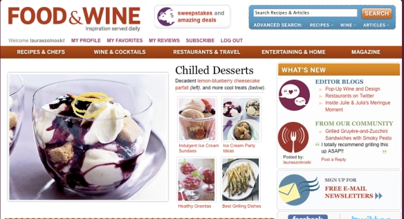 Food and Wine Homepage - July 31, 2009 - selection from my review of Zucchini Gruyere Sandwiches