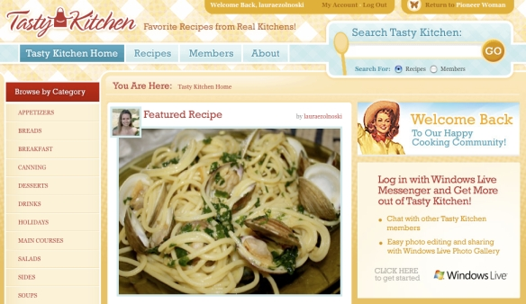 Tasty Kitchen Homepage - July 18, 2009