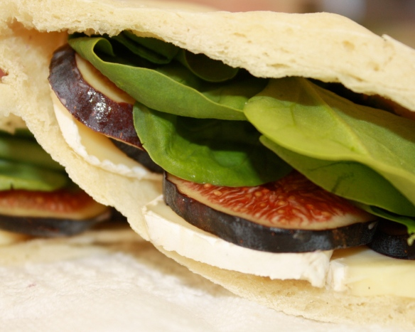 fig brie spinach close up