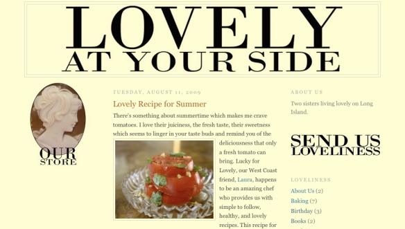 "Thanks to Olivia for the ""lovely"" mention on Lovely at Your Side!  Visit them at http://lovelyatyourside.com"